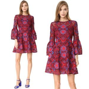 Cynthia Rowley Lace Red Blue Bell Sleeve Dress 10